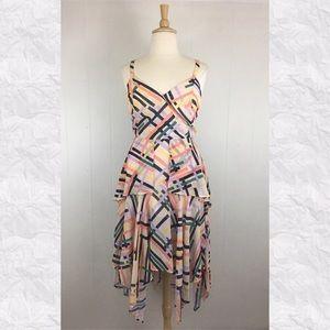 Eloquii Crossover V-Neck Geometric Peplum Dress